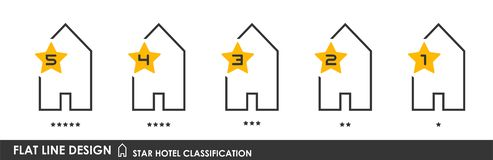 Star hotel classification 2. Flat linear design. Classification symbols of hotels by the number of stars. A collection of modern iconography of the logo. Vector vector illustration