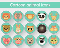 Flat linear icons of pets, forest animals and zoos are isolated in a circle. Royalty Free Stock Image
