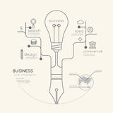 Flat linear Infographic Business Education Pen Tree with Light. Bulb Outline concept.Vector Illustration Royalty Free Stock Photo