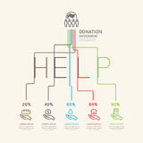 Flat linear Infographic Charity and Donation Outline concept. Stock Photo