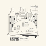 Flat linear Infographic Construction Helmet Outline Concept. Vector Illustration Royalty Free Stock Photo