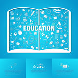 Flat linear infographic of education academic text book from man Royalty Free Stock Images