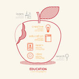 Flat linear Infographic Education Apple Outline concept.Vector Royalty Free Stock Photos