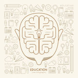 Flat linear Infographic Education Man Creative Thinking. Stock Photos