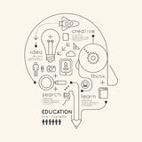 Flat linear Infographic Education Outline Pencil Head Concept. stock illustration