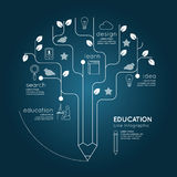 Flat linear Infographic Education Pencil Tree Outline concept. Stock Photography
