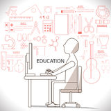 Flat linear infographic of man studying in many suject such as a Stock Image