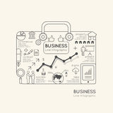 Flat linear Infographic World Business Bag Outline concept. Stock Photos