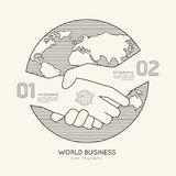 Flat linear Infographic World Business Handshake Outline Success Royalty Free Stock Photos