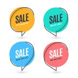Flat linear promotion banner, speech bubble, price tag Royalty Free Stock Image