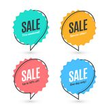 Flat linear promotion banner, speech bubble, price tag royalty free illustration