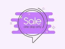 Flat linear promotion banner, speech bubble, price tag, sticker, stock illustration