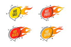 Flat linear promotion fire banner, price tag, hot sale, offer. Price. Vector illustration set Royalty Free Stock Photography