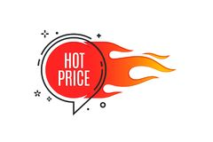 Flat linear promotion fire banner, price tag, hot sale, offer, p. Rice. Vector illustration Royalty Free Stock Images