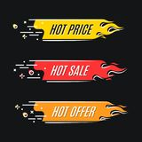 Flat linear promotion fire banner, price tag, hot sale, offer, p. Rice. Vector illustration set Royalty Free Stock Image