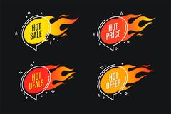 Flat linear promotion fire banner, price tag, hot sale, offer, p. Rice. Vector illustration set Stock Photos