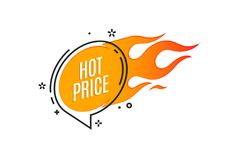 Flat linear promotion fire banner, price tag, hot sale, offer. Price. Vector illustration Royalty Free Stock Photo