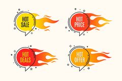 Flat linear promotion fire banner, price tag, hot sale, offer, p. Rice. Vector illustration set Stock Image
