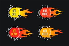 Flat linear promotion fire banner, price tag, hot sale, offer, p. Rice. Vector illustration set Royalty Free Stock Photography