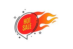 Flat linear promotion fire banner, price tag, hot sale, offer. Price. Vector illustration Royalty Free Stock Photography