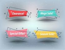 Flat linear promotion ribbon banner royalty free illustration