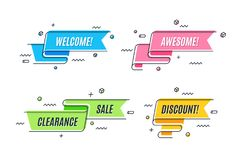 Flat linear promotion ribbon banner, scroll, price tag royalty free illustration