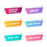 Flat linear promotion ribbon banner, scroll, price tag, sticker, badge. stock illustration