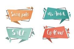 Flat linear promotion ribbon banner, scroll, price tag, sticker, badge, poster. Vector illustration. stock illustration
