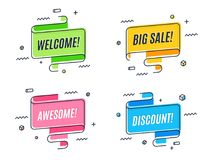 Flat linear promotion ribbon banner, scroll,  price tag, sticker Royalty Free Stock Photos