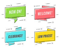 Flat linear promotion ribbon banners, price tags, stickers, badg Stock Photos
