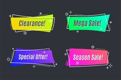 Flat linear promotion vivid banner, scroll, price tag, sticker,. Badge, poster Vector illustration Royalty Free Stock Images