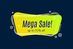 Flat linear promotion vivid banner, scroll, price tag, sticker,. Badge, poster Vector illustration Royalty Free Stock Photo