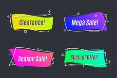 Flat linear promotion vivid banner, scroll, price tag, sticker,. Badge, poster Vector illustration Stock Image