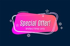 Flat linear promotion vivid banner, scroll, price tag, sticker,. Badge, poster Vector illustration Stock Images