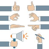 Flat linear set male business hands sing . royalty free illustration