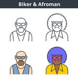 Flat and linear vector avatar set: biker and afroman. Gangster and street gang member outline human userpic collection. Colorful thin line face icons: afro Royalty Free Stock Photography