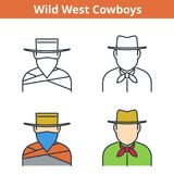 Flat and linear vector avatar set: cowboy and robber. Flat and linear vector avatar set: Wild West cowboy and robber. Western outline human userpic collection Stock Photos