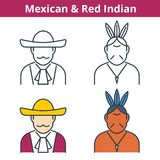 Flat and linear vector avatar set: Mexican and Red Indian. vector illustration