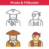 Flat and linear vector avatar set: pirat, capitain, filibuster. Outline human userpic collection. Colorful thin line face icons for user profiles, web design Stock Photo