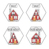 Flat linear vector design. Outlined stroke realty icons. Houses for sale concept. Property investment, buy, sell, rent vector illustration