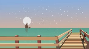 Flat sea with bridge in sky full of star. A fully editable and resizable vector, Illustrator EPS 10 file Royalty Free Stock Image