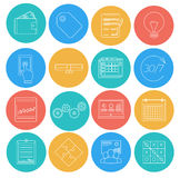 Flat lines icons of business and finance. Electronic commerce, SEO, marketing, office. Royalty Free Stock Photography