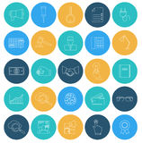 Flat lines icons SEO and internet. Stock Photo
