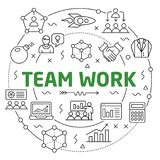 Flat lines illustration for presentation team work royalty free illustration