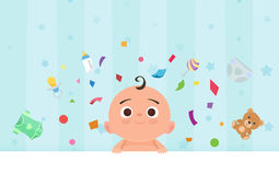 Flat little happy boy with toys Royalty Free Stock Images