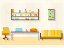 Flat living room with furniture and long shadows Stock Images