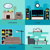 Flat Living Room Interior Square Concept Stock Photo