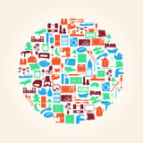 Flat Living Room, Kitchen, Bedroom And Bathroom Icons Eps10 Stock Photos