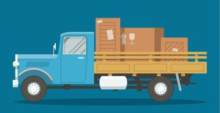 Flat loaded truck. Flat old retro cargo truck loaded with boxes side view illustration. EPS10 vector image of a lorry Royalty Free Stock Images