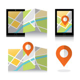 Flat location icon on smartphone. Mobile GPS Navigation concept. Stock Images
